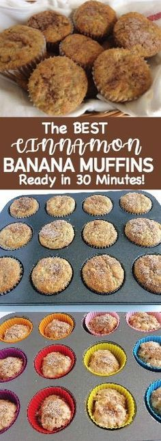The best Easy Cinnamon Swirl Banana Bread Muffins are moist and full of bananas and cinnamon. The perfect banana muffin recipe!