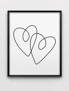 two hearts print // love print // black and white minimalistic wall decor // romantic wall art // heart print Romantic Room Decoration, Romantic Home Decor, Hippie Home Decor, Cute Home Decor, Romantic Homes, Art Pariétal, Art Mural, Heart Poster, Heart Hands Drawing