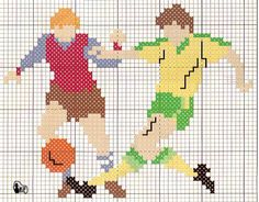 Soccer player x-stitch Cross Stitch Boards, Cross Stitch Kits, Cross Stitch Embroidery, Cross Stitch Patterns, Letter Patterns, Loom Patterns, Graph Crochet, Le Point, Crochet Stitches