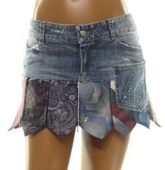 LAUREN DINARDO Upcycle Denim & NECK TIE Embellished CRYSTAL Mini Skirt XS 0 SEXY #LaurenDiNardoBoutiqueBrand #Mini