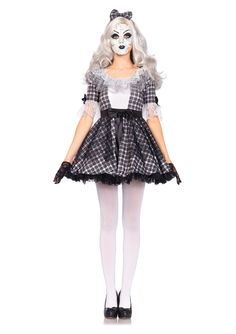 This creepy porcelain doll costume is great for everyone! The costume includes the dress, matching headband, and doll face. Come to the Stagecoach to get other accessories such as the white tights, wi