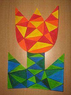 Tulipán - malovaná vitráž