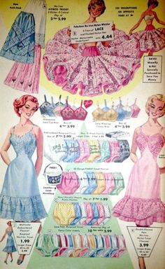 1950's- a big selection of colors and materials, you can buy in packs of 6 or even 10. And the colors match the slips and petticoats.