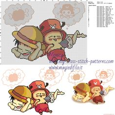 Monkey D. Rufy e Tony Tony Chopper cross stitch pattern