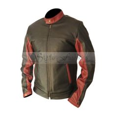 Batman: The Dark Knight 2012 Superhero Film's main Character Bruce Wayne Biker Leather Jacket Replica is Now Available at Stylo Fashions in Low Price with 100% Pure Leather.  Movie: Batman: The Dark Knight Character: Bruce Wayne  Actor: Christian Bale Shell: 100% Pure Leather Cuff: zipped with Button Collar: stand-up Collar with button Stiching: Premium Quality Color: Black Hood: No Front: Black and Maroon Designing Back: Costume Textile Design with Curves