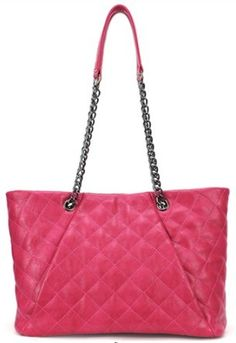 Rose Red Plaid Chain Magnetic PU Leather Shoulder Bag