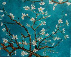 Купить Картина Вдохновляясь Ван Гогом - морская волна, Ван гог, ветка миндаля