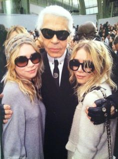 Olsen twins with carl, luv all 3 of them. They have a good eye for fashion.