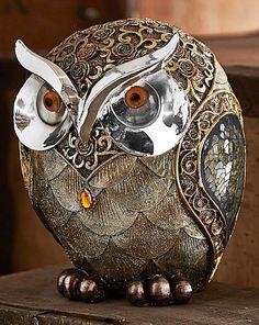 A beautifully detailed Rose Gold Owl ornament. Owl Mosaic, Owl Quotes, Whimsical Owl, Owl Eyes, Owl Ornament, Little Owl, Owl Bird, Gourd Art, Owl House