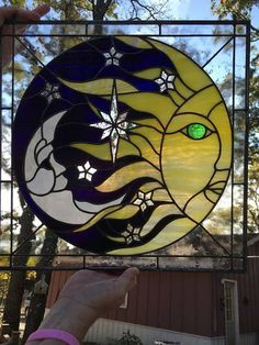 Handmade Stained Glass Sun and Moon Panel - Cool Glass Art Designs Faux Stained Glass, Stained Glass Lamps, Stained Glass Designs, Stained Glass Panels, Stained Glass Projects, Stained Glass Patterns, Mosaic Patterns, Mosaic Art, Mosaic Glass