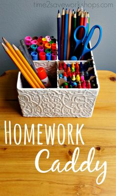 Spend 15 minutes making a homework caddy - save yourself countless minutes running around looking for things while your kids do homework.