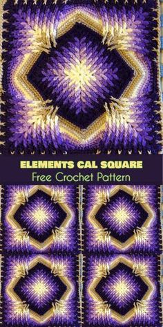 Elements Cal Crochet Square for Blankets Pillows - elements cal square pattern - Elements Cal Crochet Square for Blankets Pillows Elements Cal Square for Blankets, Afghans, Pillows, Centrepieces [Free Crochet Pattern] Crochet Blocks, Granny Square Crochet Pattern, Crochet Squares, Crochet Motif, Free Crochet, Crochet Stitches, Simple Crochet, Quick Crochet, Crochet Baby