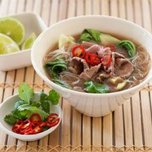 Fragrant beef & Rice Noodle Soup ----   4 cup Beef stock    1 piece Lemongrass (trimmed, cut into 5cm lengths, bruised)         1 tbs Ginger, fresh (3cm piece, peeled, thinly sliced       2 tsp Fish sauce         2 tsp Lime juice       1 tsp Caster sugar         1 bunch Bok choy, baby (trimmed, leaves separated)      150 g Rice noodles, (Vermicelli)       400 g Beef fillet, (fat trimmed, thinly sliced)         ¼ cup Coriander, fresh         1 Red chilli (thinly sliced)         1 med Lime