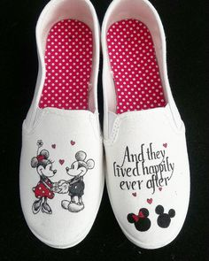 A perfect addition for any Disney or Mickey/Minnie fans! This listing is for the Mickey and Minnie hand painted shoes. The shoes are available in