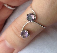 SALE Sterling Silver Climbing Natural Amethyst Ring by MAJESSY February Birthstone Ring Gemstone Ring