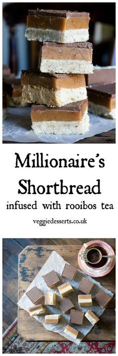 Get the recipe for Millionaire Shortbread (Caramel Squares) infused with nutty Rooibos tea. Layers of shortbread, caramel and chocolate make a rich and delicious dessert. #rooibos #millionaireshortbread #shortbread #caramel #tearecipe