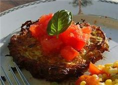 Zucchini Pancakes Topped with Diced Tomatoes