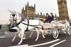 Unicórnios puxam charrete em Londres