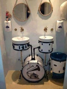 Perfect for a Jam room bathroom!!!! LOVE THIS <3