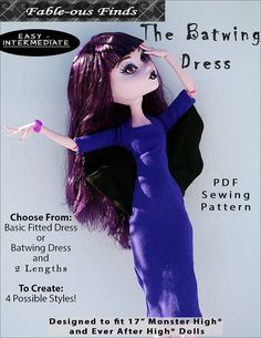 "BATWING DRESS or basic fitted dress Sewing Pattern for 17"" Monster High & Ever After High Dolls fits Gooliope- Instant PDF Download"