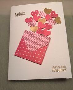 Herziges zur Hochzeit...Envelope Punchboard,Herzen,Flüsterweiss, Wassermelone, Gold, Heissklebepulver, SU Perfekte Päärchen