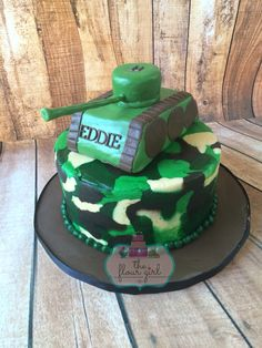 Camouflage army tank cake.  Birthday boy. All buttercream