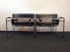 Pair of Chrome and Black Leather Wassily Style Mid-Century Modern Chairs