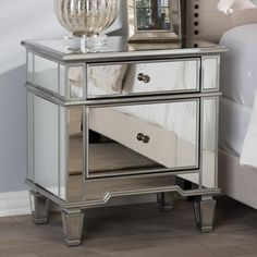 Baxton Studio Sussie Hollywood Regency Glamour Style Mirrored NightstandSussie mirrored nightstand is a glamorous storage option for small bedroom setting. Bring the look of vintage Hollywood to your decor with this luxe mirrored bed sid Mirrored Bedroom Furniture, Royal Furniture, City Furniture, Rustic Furniture, Regency Furniture, Furniture Movers, Furniture Outlet, Furniture Stores, Furniture Ideas