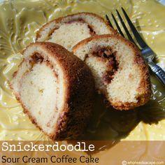 Snickerdoodle Sour Cream Coffee Cake | Who Needs A Cape? #snickerdoodle #coffeecake #dessert #baking #sourcream