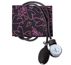 Prestige Medical Pink Hearts Black Blood Pressure Cuff With Case