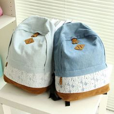 2015 Fashion Fresh Lace Denim Women's Canvas Backpack School bag For Girl Ladies…