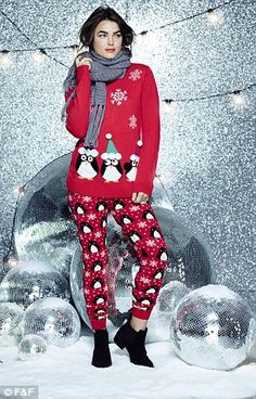 We love F&F's Party Penguins Christmas Jumper, £12, right and matching F&F Penguin Christm...