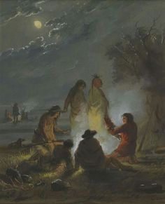 Alfred Jacob Miller Camp Fire, Preparing the Evening Meal Jacob Miller, Native American Legends, American Indians, American Art, American History, Old Paintings, Evening Meals, Mountain Man, Canvas Artwork
