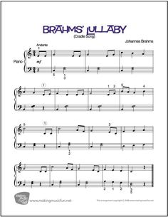 Brahms' Lullaby | Sheet Music for Easy Piano (Digital Print) http://makingmusicfun.net/htm/f_printit_free_printable_sheet_music/brahms-lullaby-piano-solo.htm