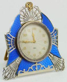 Russian silver guilloche clock with Swiss movement