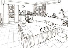 Bed room by wildgrape on deviantart drawing lessons in Perspective Room, 1 Point Perspective, Perspective Sketch, Drawing Interior, Interior Design Sketches, Sketch Design, Bedroom Photography, Interior Photography, Dream House Drawing