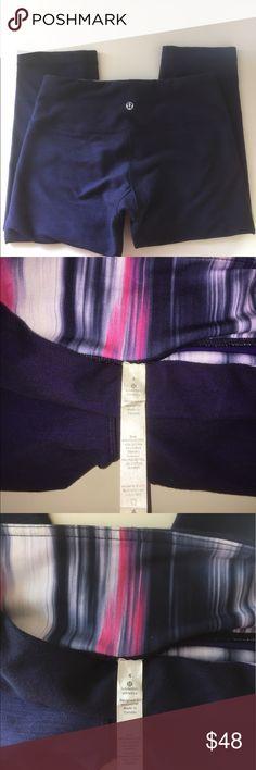 Lululemon Capri leggings Great condition Lululemon Leggings size 4! Rip tag and size dot. Colorful inside waste band. lululemon athletica Pants Leggings