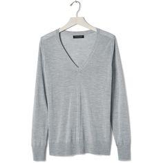 Banana Republic Merino Sweater Vee ($54) ❤ liked on Polyvore featuring tops, sweaters, banana republic sweaters, merino wool v-neck sweater, v neck sweater, long sleeve sweater and merino wool tops