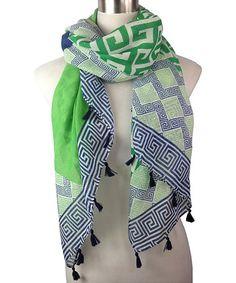 Love this Green & Blue Greek Key Tassel Scarf on #zulily! #zulilyfinds