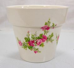 Vintage Ironstone Planet Cache Pot Jardiniere England Pink Roses Pink