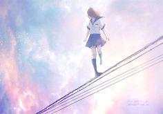 grafika anime girl, scenery, and sky
