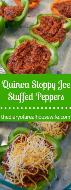 Quinoa Sloppy Joe Stuffed Peppers. I love this recipe. Totally gluten free and something my family really loved. Thats a winner.