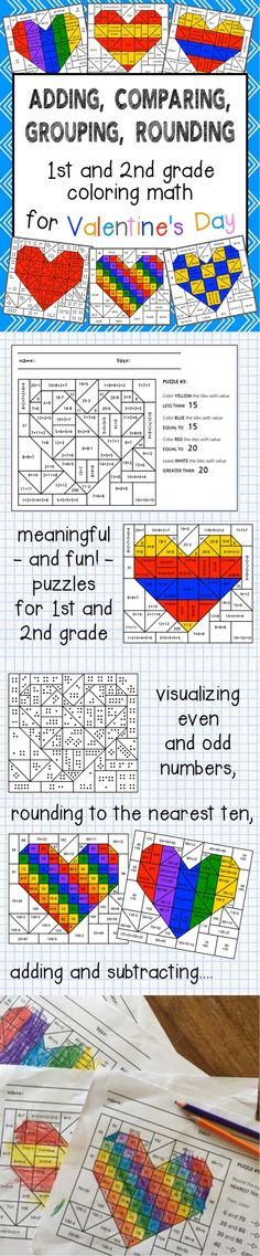 Valentines day coloring math  comparing fractions and equivalent