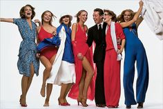 Halston and his ladies, the Halstonettes , 1977 by skorver1 on Flickr.  From left to right: Shelley Hack, Cheryl Tiegs, Chris Royer, Karen Bjornsen, Halston, unidentified model, Shelley Smith.