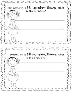 Here's a winter-themed booklet where students are given an answer and must come up with their own word problem.