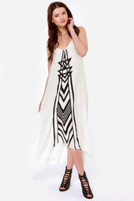 Billabong Golden Splash Black and Ivory Maxi Dress