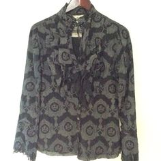 Stunning Shirts by Cino Ruffled Front Blouse Small Very feminine ruffled front blouse with lace trim. The fabric is black with a cream crown motif. The shirt also has raw edge details and a tie at the neck. The pictures don't do it justice. cino Tops Blouses