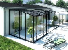 Jolie déco véranda rideau Extension Veranda, Conservatory Extension, House Extension Design, Lean To Conservatory, Greenhouse Shed, Glass Room, Marquise, House With Porch, Rooftop Terrace
