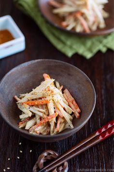 Gobo Salad Burdock Root Carrot Salad with Sesame Dressing in Japanese bizen ceramic bowl Easy Japanese Recipes, Japanese Dishes, Japanese Food, Japanese Wine, Japanese Kitchen, Indian Food Recipes, Asian Recipes, Vegetarian Recipes, Cooking Recipes