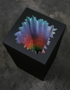 Holographic Square, 2012, acid-free foam board, holographic paper, glue, wood & acrylic paint, 17 x 17 x 36 in.